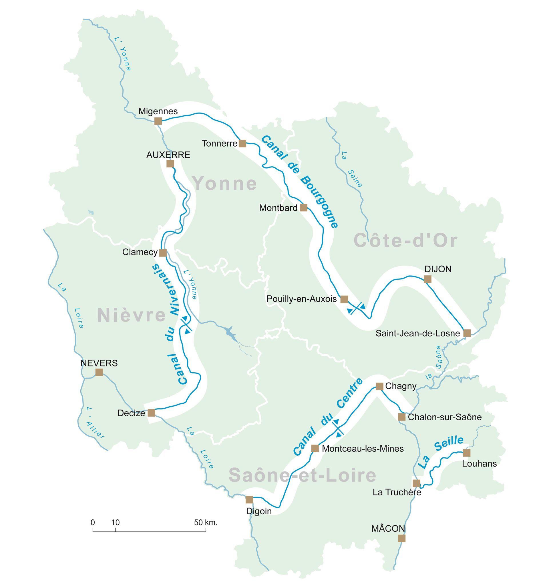 Canaux De Bourgogne Carte
