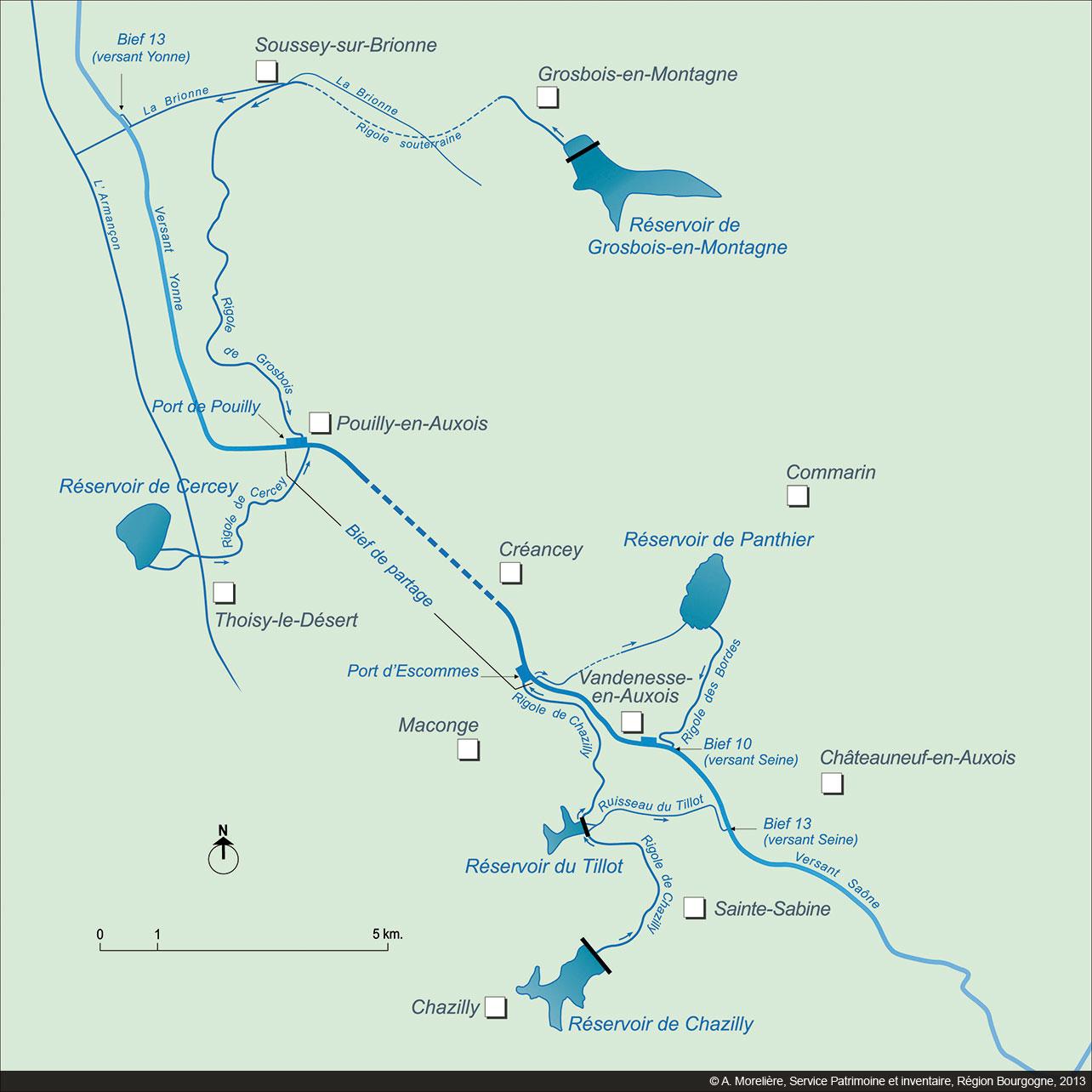 Canal De Bourgogne Carte.Canaux De Bourgogne Alimentation En Eau