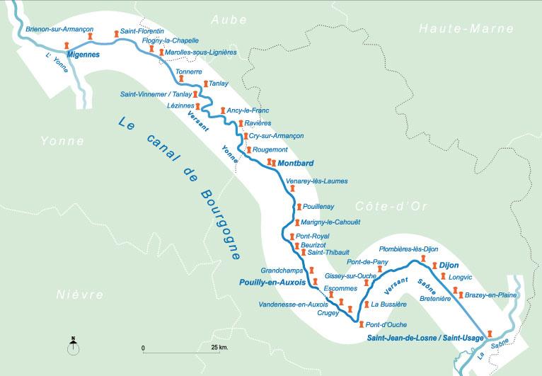Canal De Bourgogne Carte.Canaux De Bourgogne Ports Et Gares D Eau