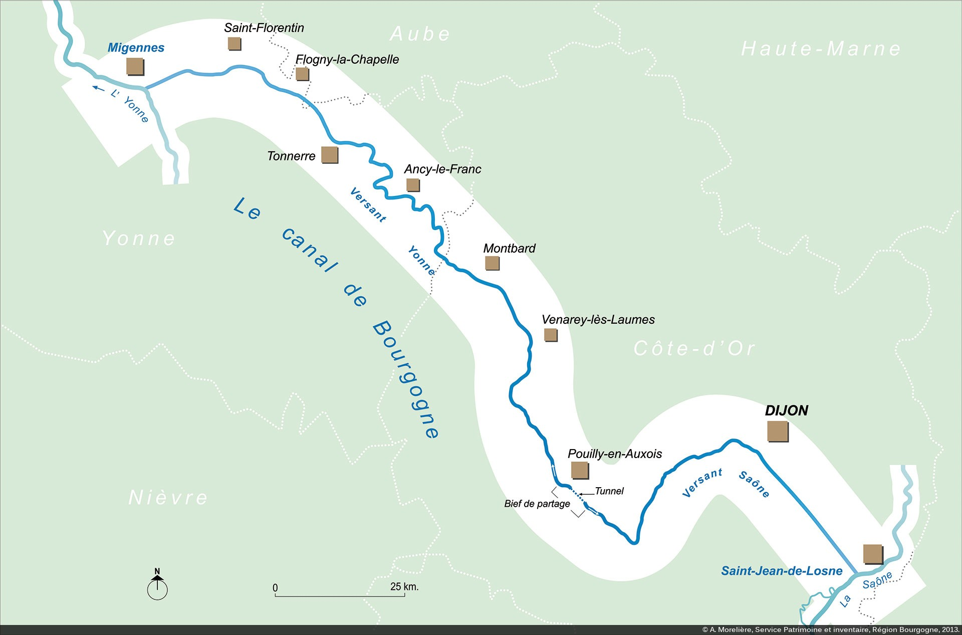 canal de bourgogne carte Canaux de Bourgogne : Introduction